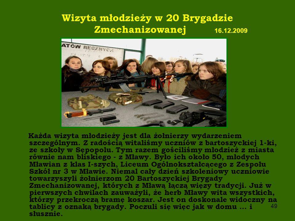 Wizyta młodzieży w 20 Brygadzie Zmechanizowanej 16.12.2009