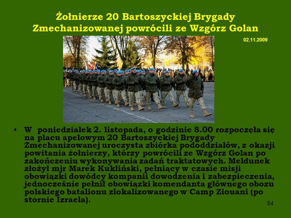Żołnierze 20 Bartoszyckiej Brygady Zmechanizowanej powrócili ze Wzgórz Golan 02.11.2009