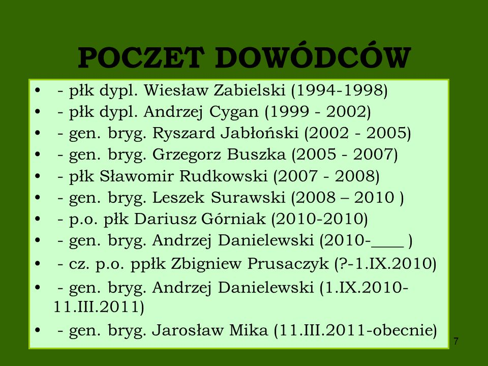 POCZET DOWÓDCÓW - płk dypl. Wiesław Zabielski (1994-1998)