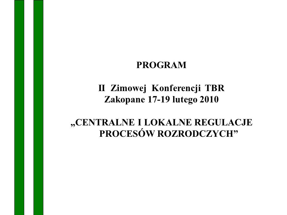 PROGRAM Zakopane 17-19 lutego 2010