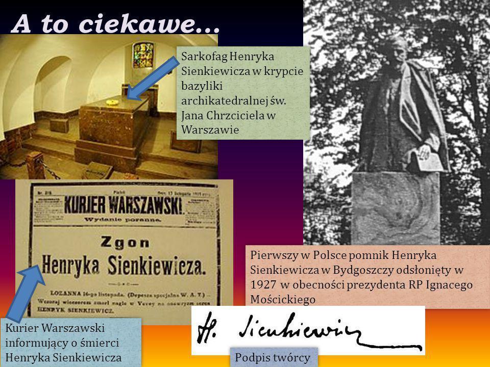 A to ciekawe… Sarkofag Henryka Sienkiewicza w krypcie bazyliki archikatedralnej św. Jana Chrzciciela w Warszawie.