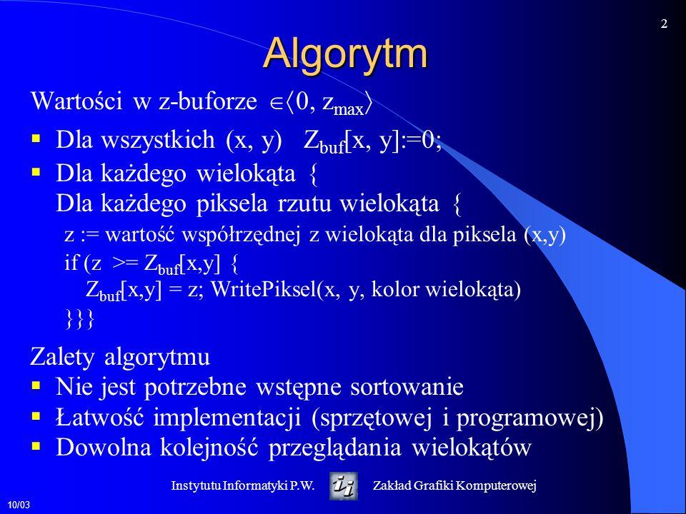 Algorytm Wartości w z-buforze 0, zmax