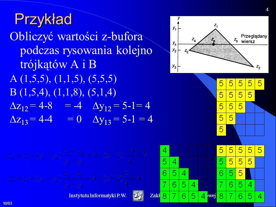Przykład Obliczyć wartości z-bufora podczas rysowania kolejno trójkątów A i B. A (1,5,5), (1,1,5), (5,5,5)