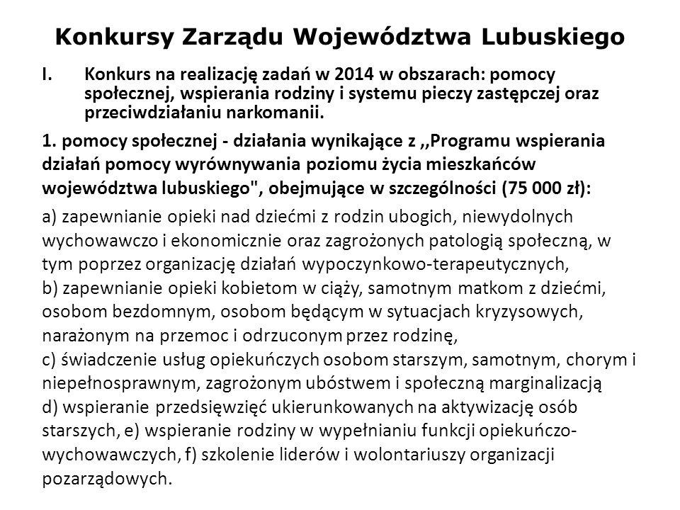 Konkursy Zarządu Województwa Lubuskiego