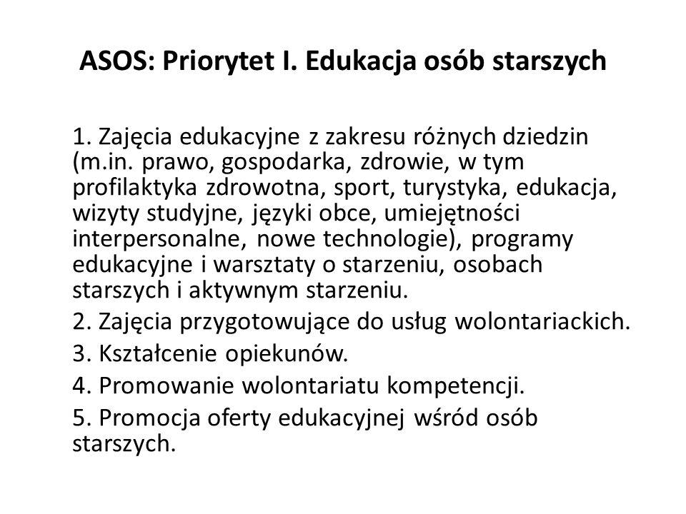 ASOS: Priorytet I. Edukacja osób starszych