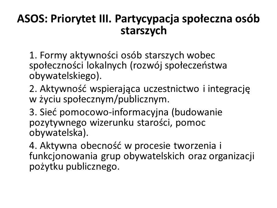 ASOS: Priorytet III. Partycypacja społeczna osób starszych