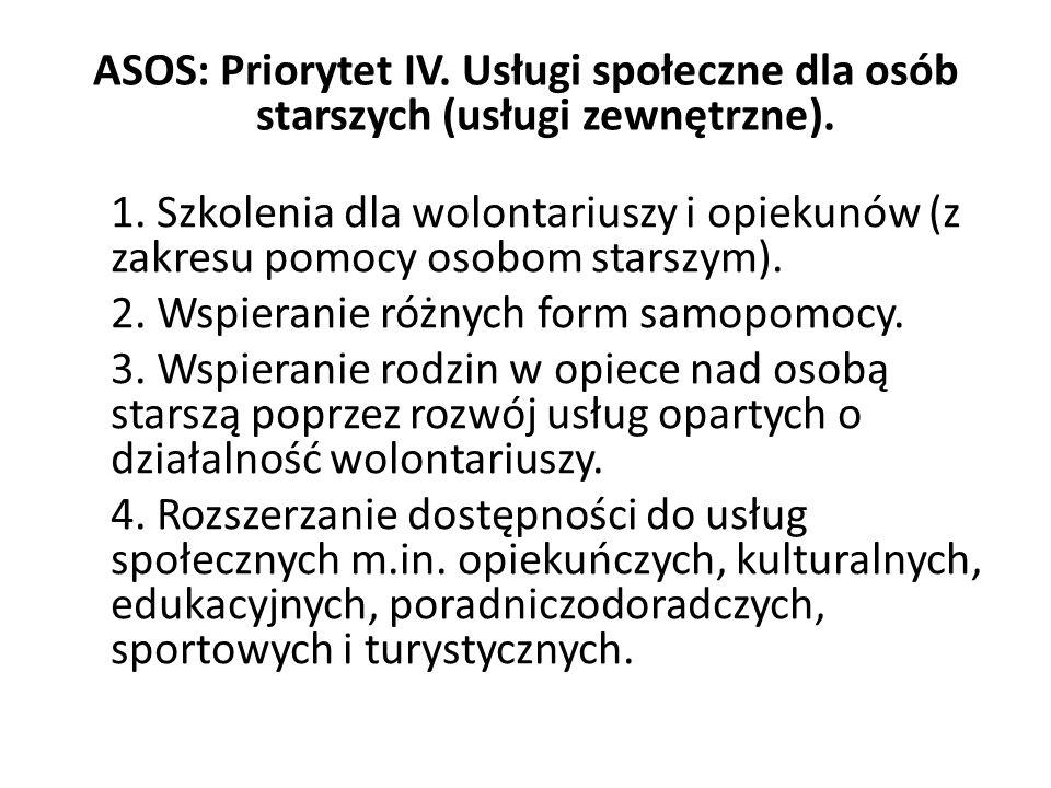 ASOS: Priorytet IV. Usługi społeczne dla osób starszych (usługi zewnętrzne).