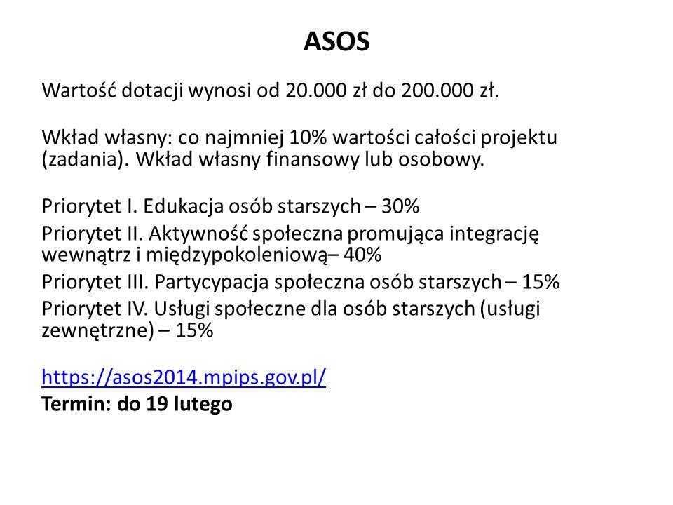 ASOS Wartość dotacji wynosi od 20.000 zł do 200.000 zł.