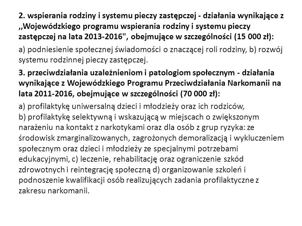 2. wspierania rodziny i systemu pieczy zastępczej - działania wynikające z ,,Wojewódzkiego programu wspierania rodziny i systemu pieczy zastępczej na lata 2013-2016 , obejmujące w szczególności (15 000 zł):