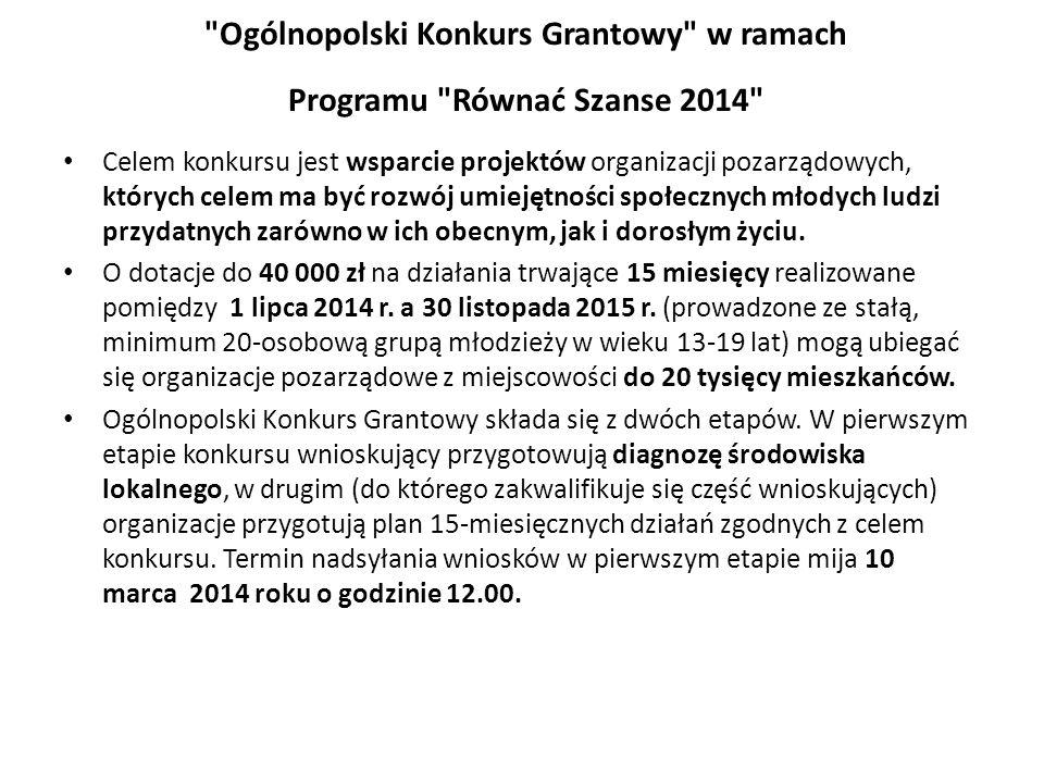 Ogólnopolski Konkurs Grantowy w ramach Programu Równać Szanse 2014