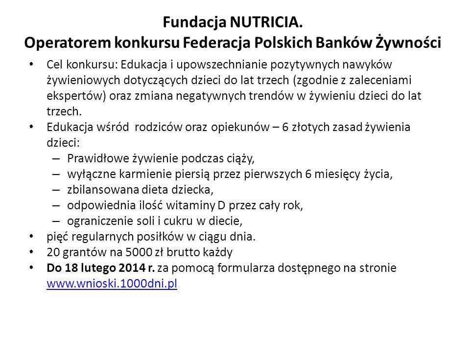 Fundacja NUTRICIA. Operatorem konkursu Federacja Polskich Banków Żywności