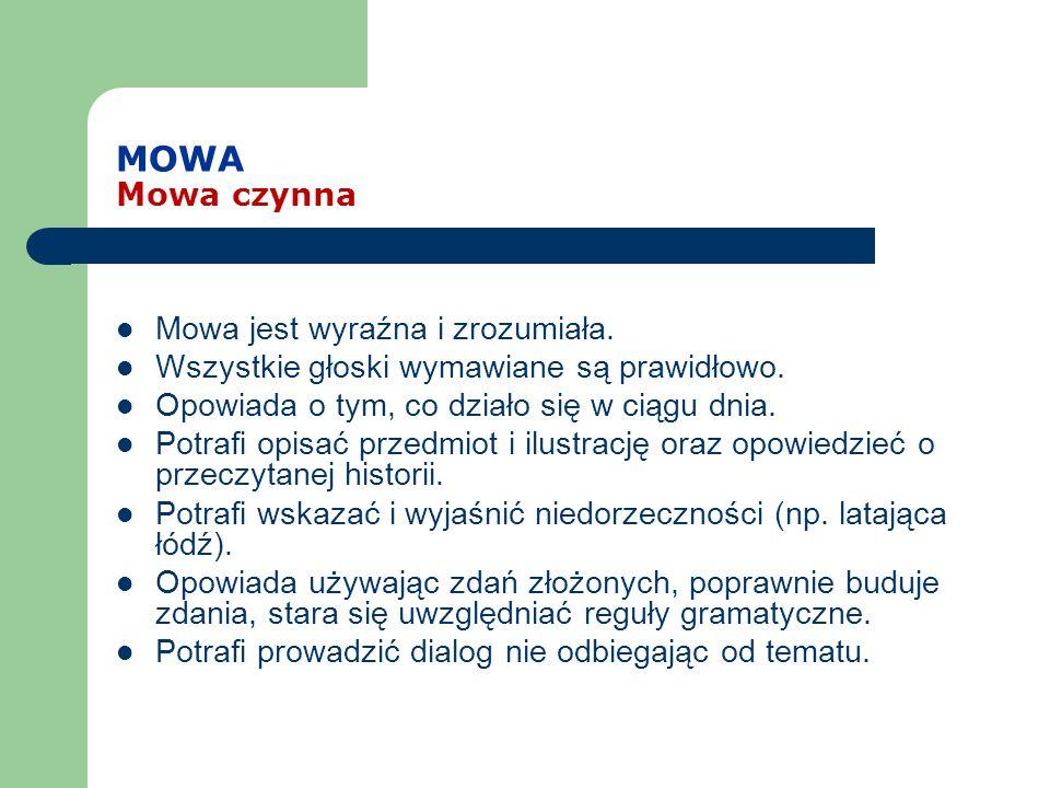 MOWA Mowa czynna Mowa jest wyraźna i zrozumiała.