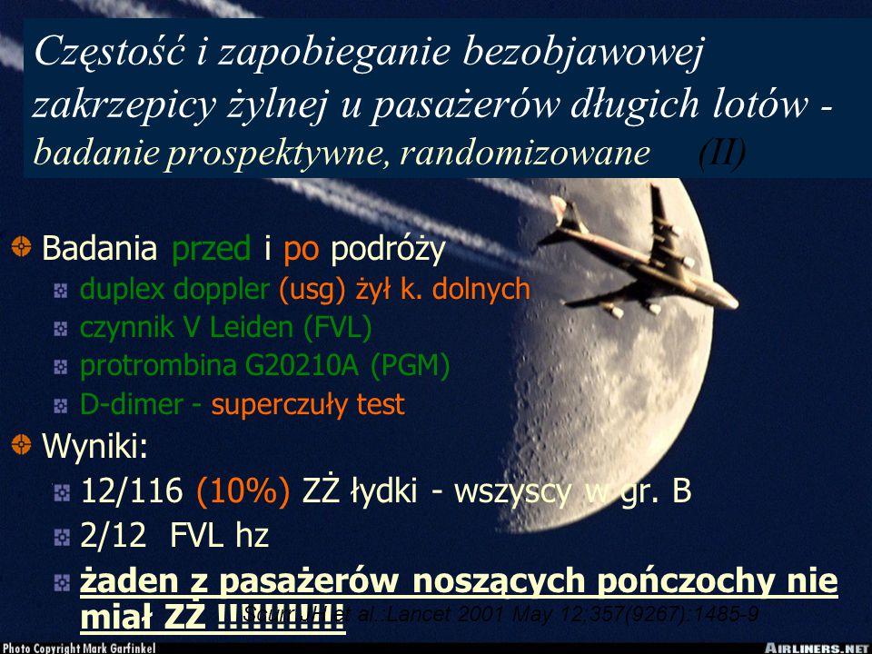 Częstość i zapobieganie bezobjawowej zakrzepicy żylnej u pasażerów długich lotów - badanie prospektywne, randomizowane (II)