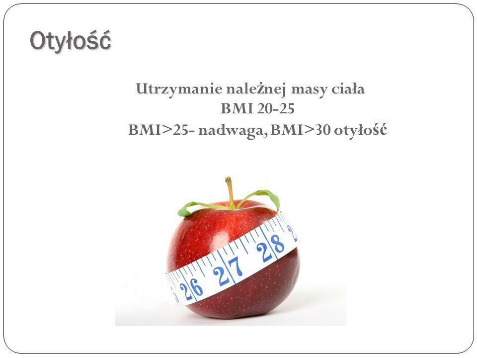 Otyłość Utrzymanie należnej masy ciała BMI 20-25 BMI>25- nadwaga, BMI>30 otyłość