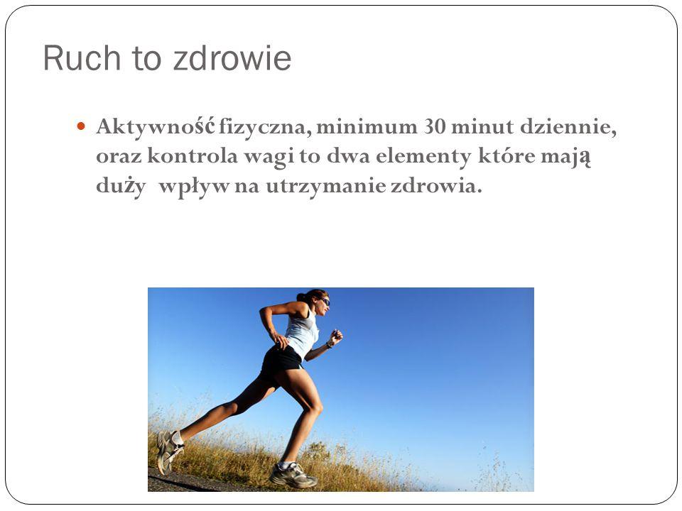 Ruch to zdrowie Aktywność fizyczna, minimum 30 minut dziennie, oraz kontrola wagi to dwa elementy które mają duży wpływ na utrzymanie zdrowia.