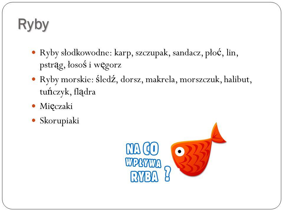 Ryby Ryby słodkowodne: karp, szczupak, sandacz, płoć, lin, pstrąg, łosoś i węgorz.
