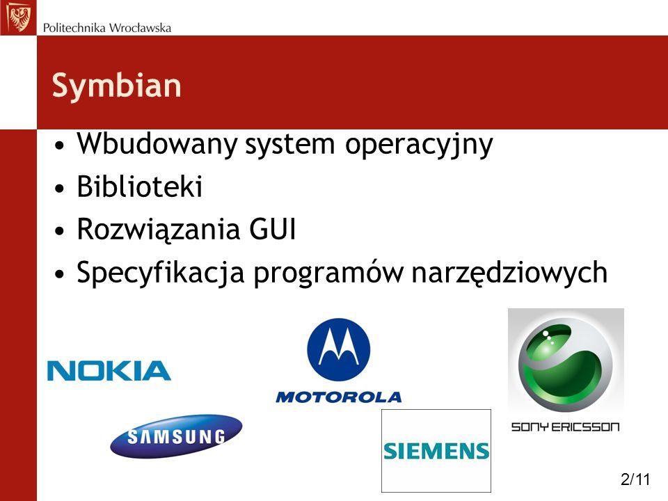 Symbian Wbudowany system operacyjny Biblioteki Rozwiązania GUI