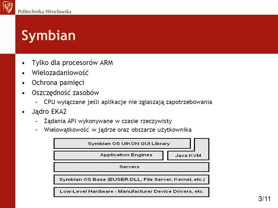Symbian Tylko dla procesorów ARM Wielozadaniowość Ochrona pamięci