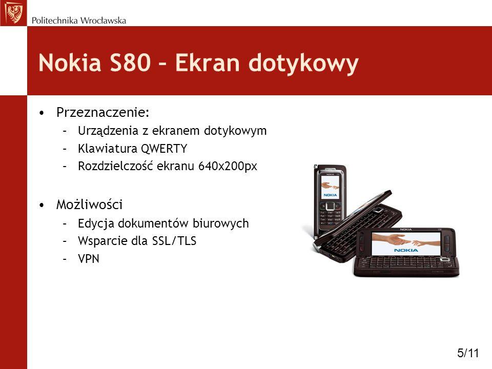 Nokia S80 – Ekran dotykowy