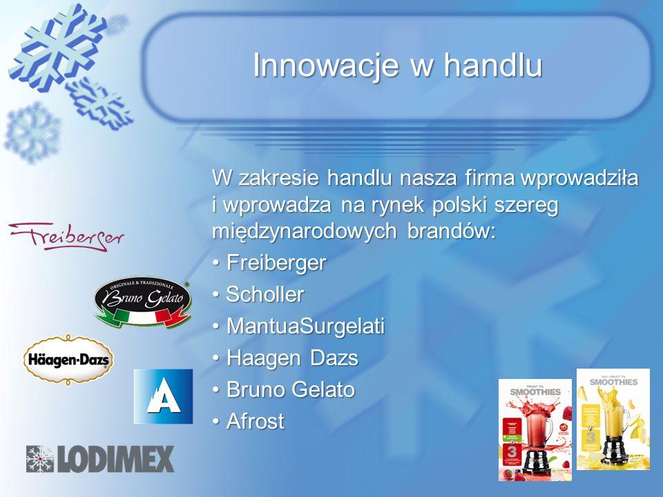 Innowacje w handlu W zakresie handlu nasza firma wprowadziła i wprowadza na rynek polski szereg międzynarodowych brandów: