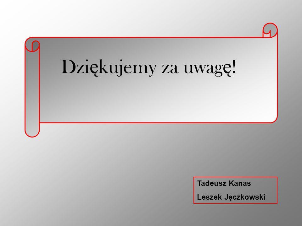 Dziękujemy za uwagę! Tadeusz Kanas Leszek Jęczkowski