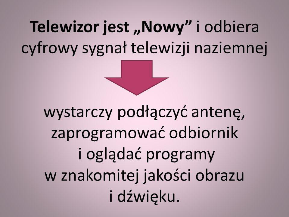 """Telewizor jest """"Nowy i odbiera cyfrowy sygnał telewizji naziemnej wystarczy podłączyć antenę, zaprogramować odbiornik i oglądać programy w znakomitej jakości obrazu i dźwięku."""