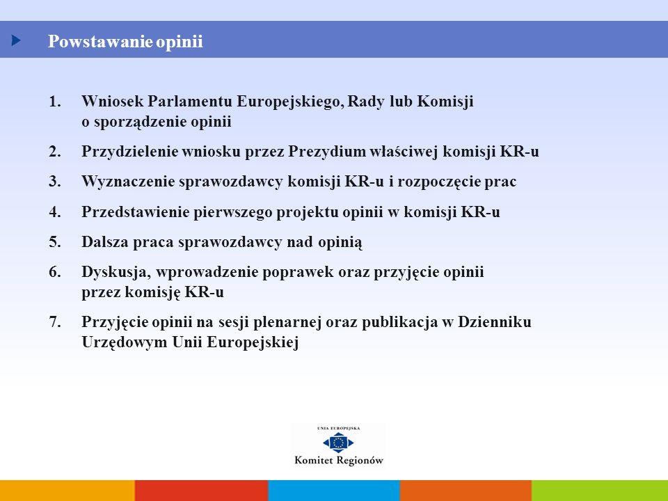 Powstawanie opinii Wniosek Parlamentu Europejskiego, Rady lub Komisji o sporządzenie opinii.