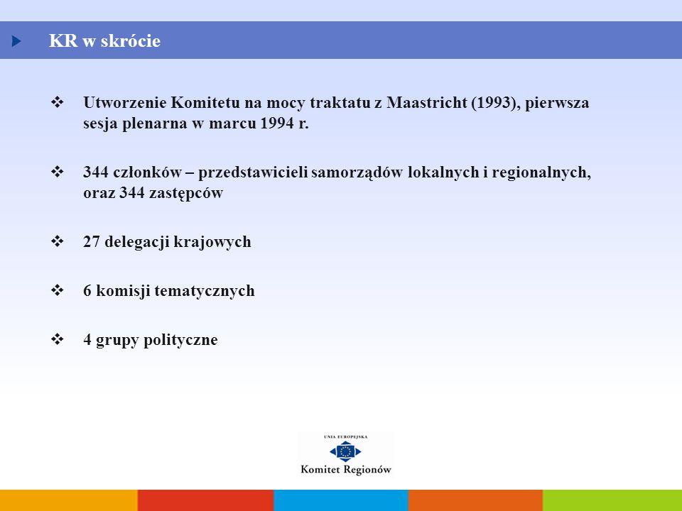KR w skrócie Utworzenie Komitetu na mocy traktatu z Maastricht (1993), pierwsza sesja plenarna w marcu 1994 r.