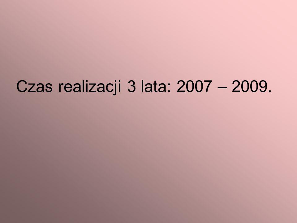 Czas realizacji 3 lata: 2007 – 2009.