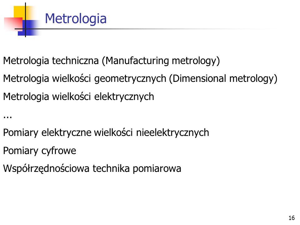 Metrologia Metrologia techniczna (Manufacturing metrology)