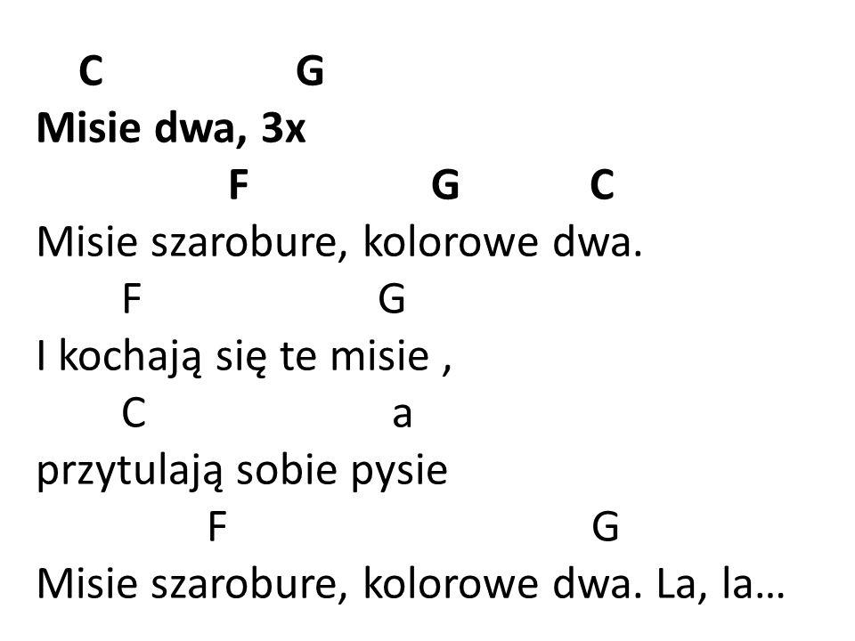 C G Misie dwa, 3x. F G C. Misie szarobure, kolorowe dwa.