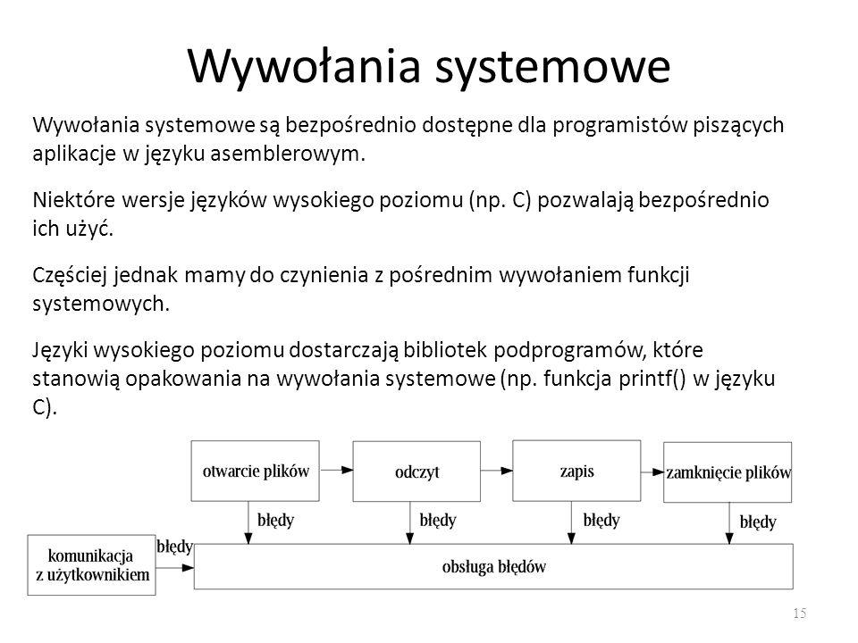 Wywołania systemowe Wywołania systemowe są bezpośrednio dostępne dla programistów piszących aplikacje w języku asemblerowym.