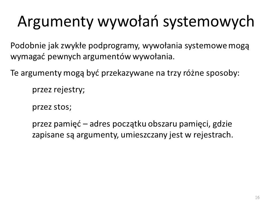 Argumenty wywołań systemowych