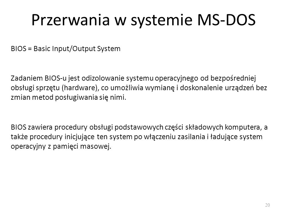 Przerwania w systemie MS-DOS
