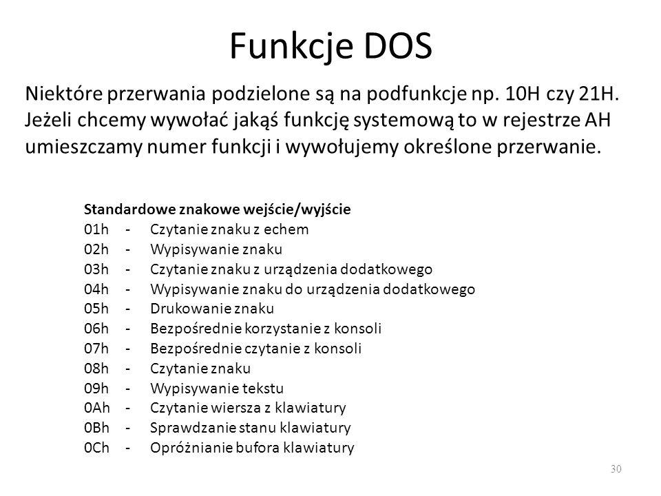 Funkcje DOS