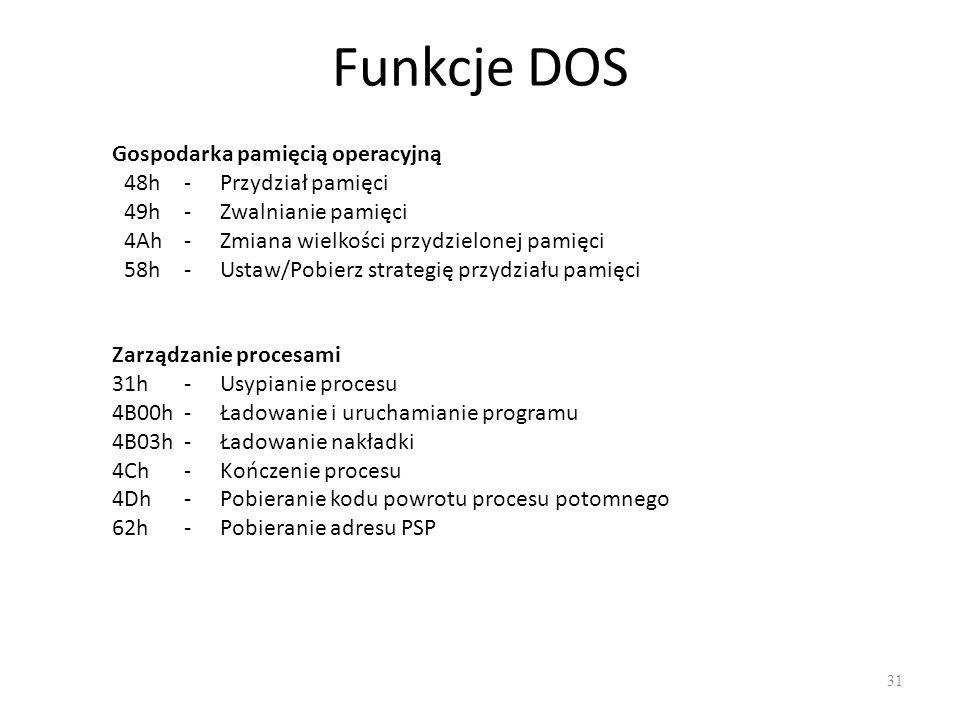 Funkcje DOS Gospodarka pamięcią operacyjną 48h - Przydział pamięci