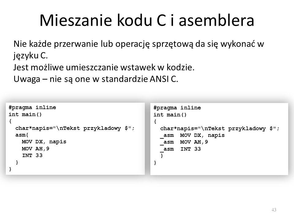 Mieszanie kodu C i asemblera