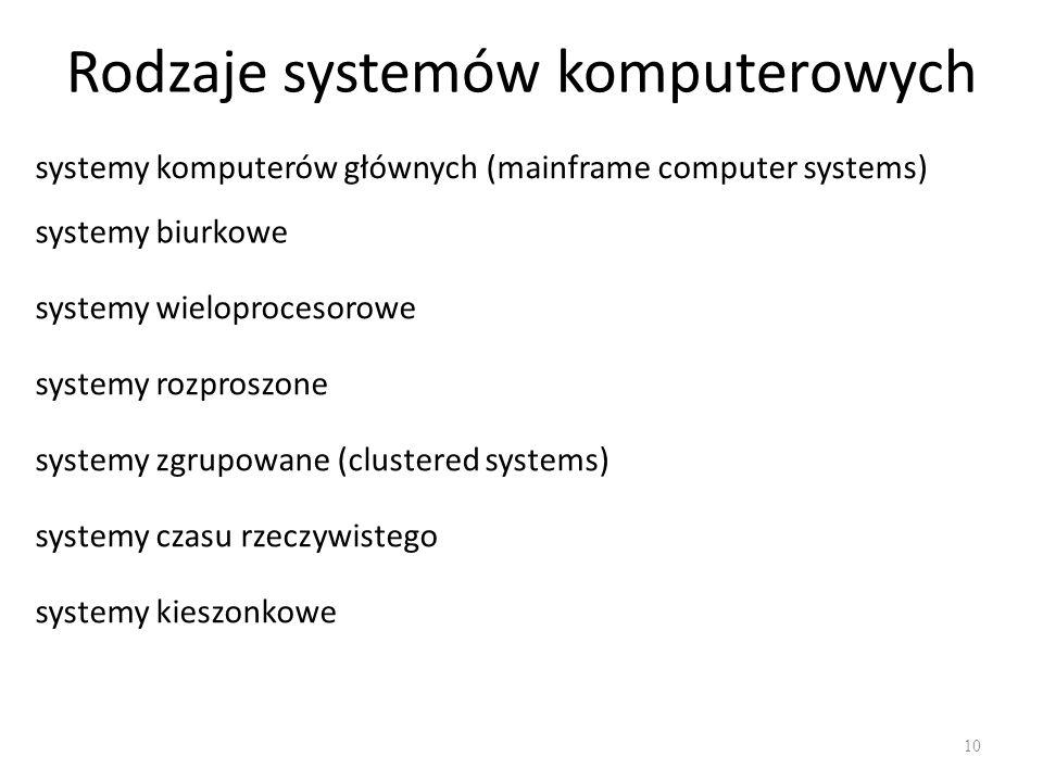 Rodzaje systemów komputerowych