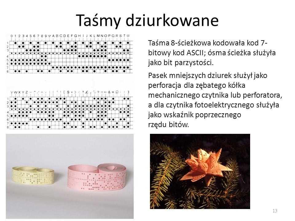 Taśmy dziurkowane Taśma 8-ścieżkowa kodowała kod 7-bitowy kod ASCII; ósma ścieżka służyła jako bit parzystości.
