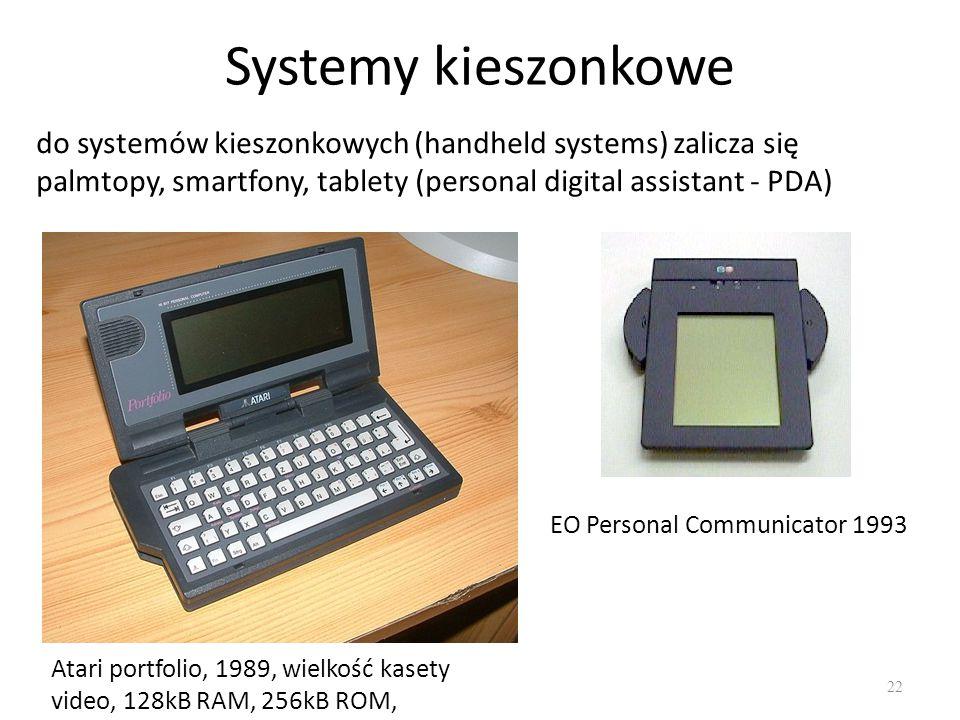 Systemy kieszonkowe do systemów kieszonkowych (handheld systems) zalicza się palmtopy, smartfony, tablety (personal digital assistant - PDA)