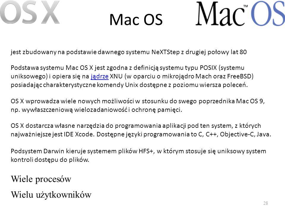 Mac OS Wiele procesów Wielu użytkowników