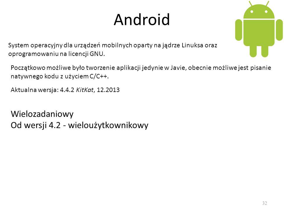 Android Wielozadaniowy Od wersji 4.2 - wieloużytkownikowy