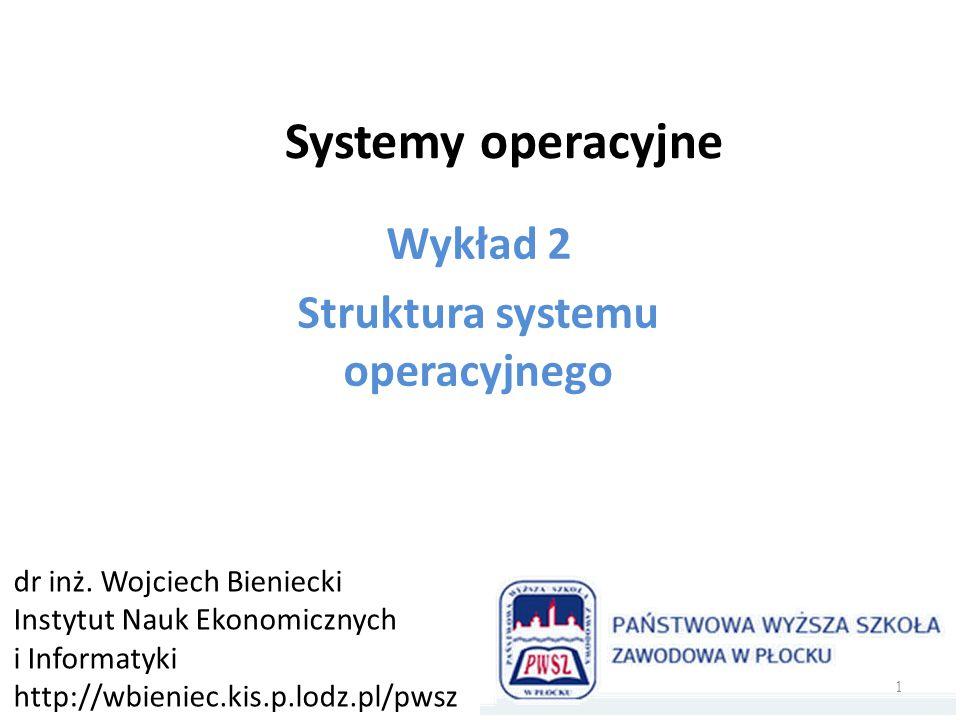 Wykład 2 Struktura systemu operacyjnego