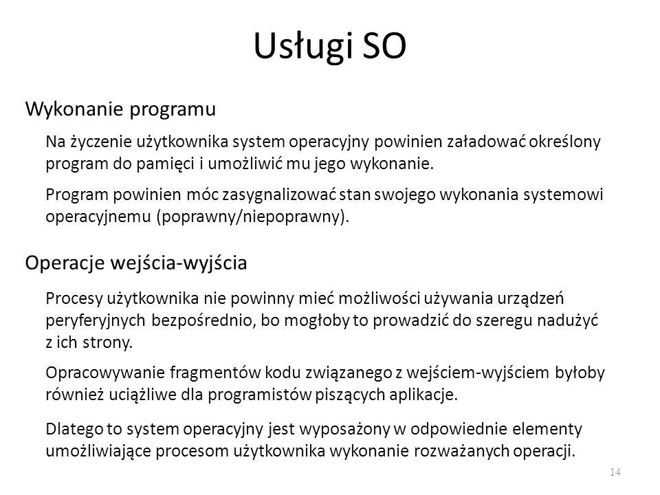 Usługi SO Wykonanie programu Operacje wejścia-wyjścia