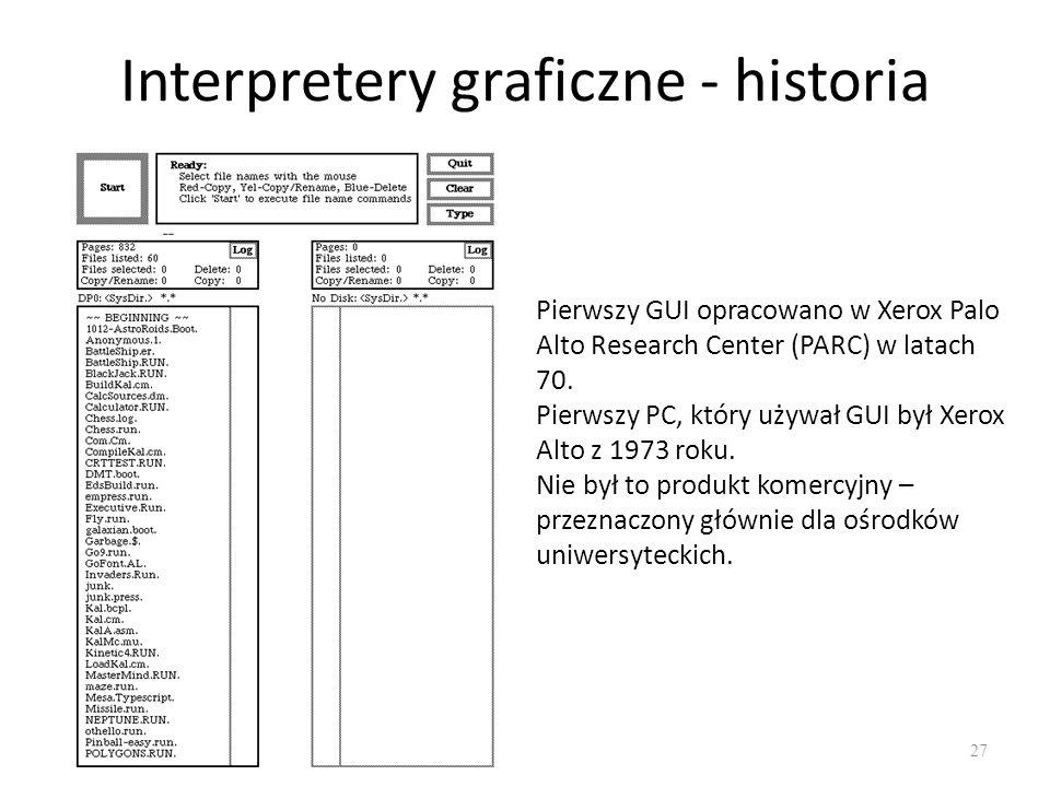 Interpretery graficzne - historia