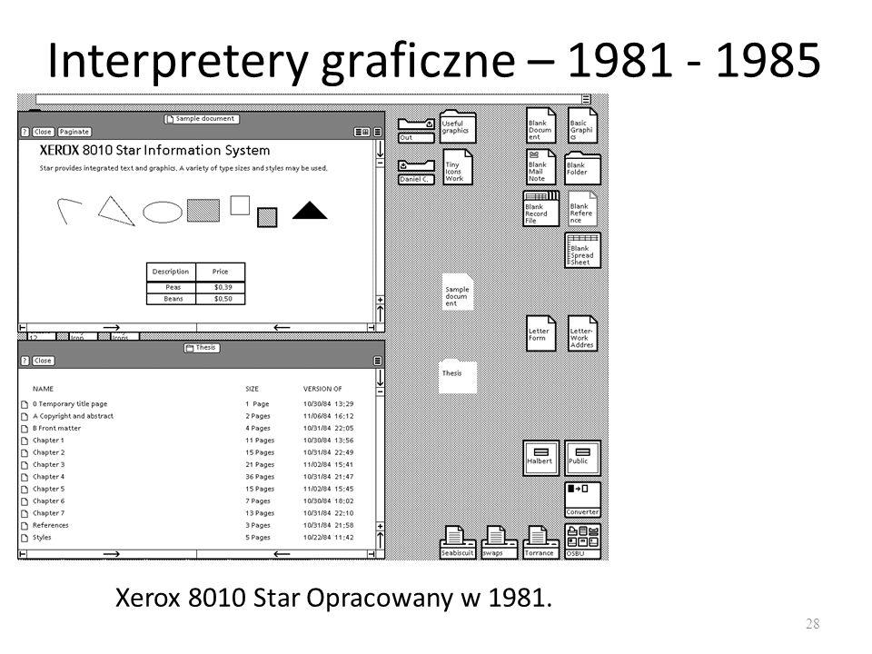 Interpretery graficzne – 1981 - 1985