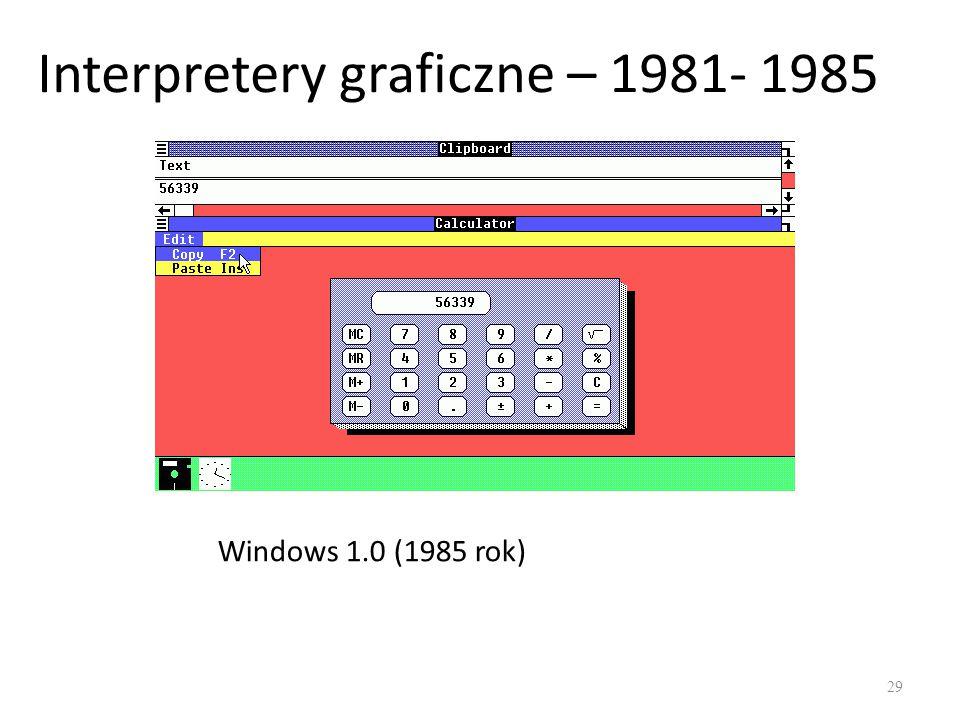 Interpretery graficzne – 1981- 1985