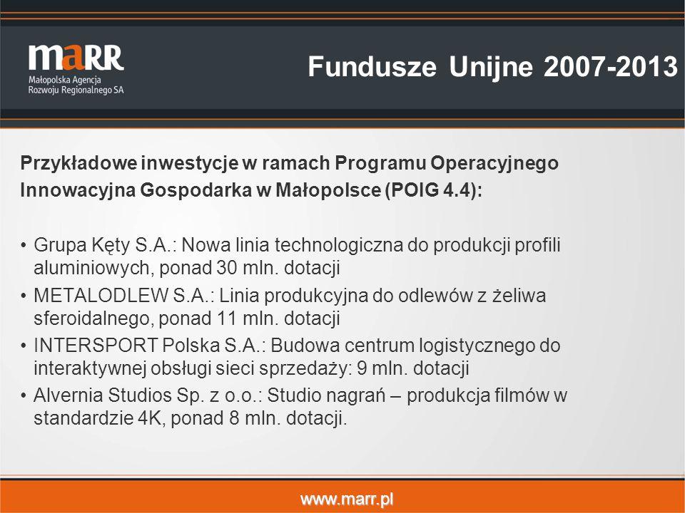 Fundusze Unijne 2007-2013 Przykładowe inwestycje w ramach Programu Operacyjnego. Innowacyjna Gospodarka w Małopolsce (POIG 4.4):