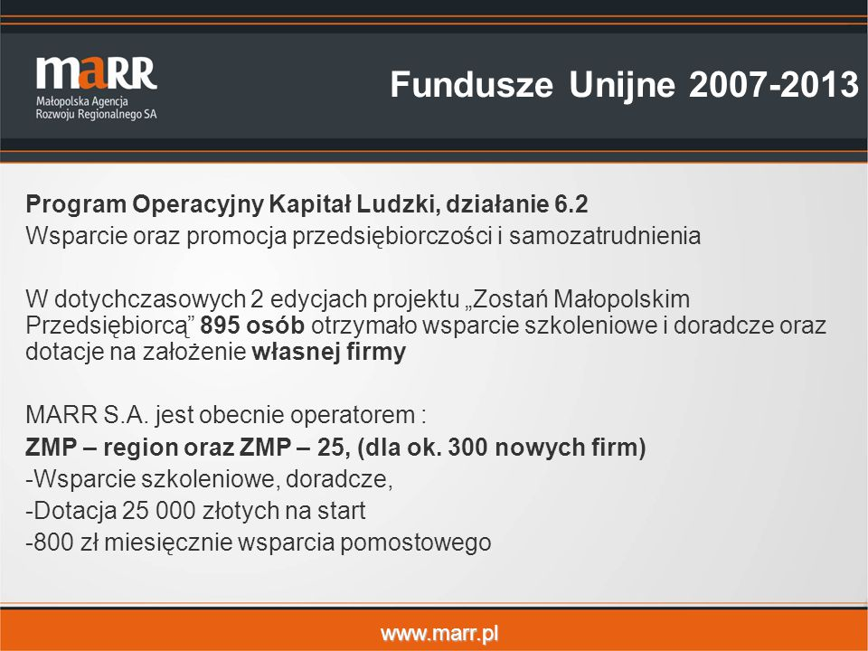 Fundusze Unijne 2007-2013 Program Operacyjny Kapitał Ludzki, działanie 6.2. Wsparcie oraz promocja przedsiębiorczości i samozatrudnienia.