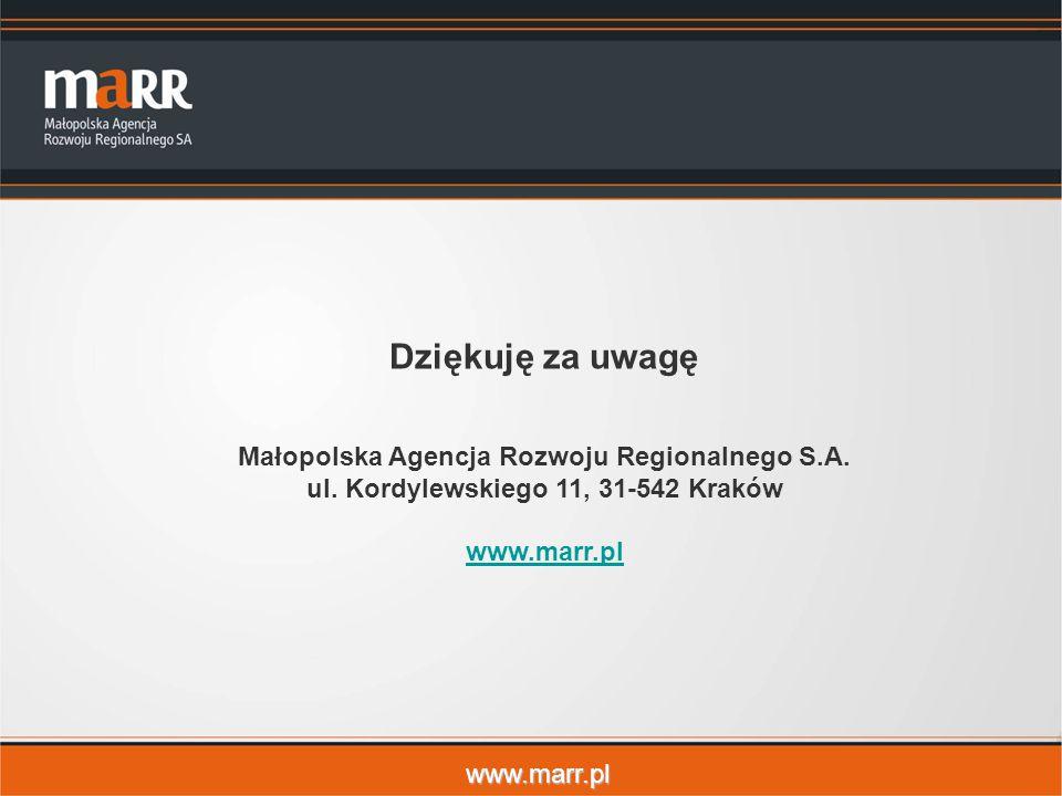 Dziękuję za uwagę Małopolska Agencja Rozwoju Regionalnego S.A.
